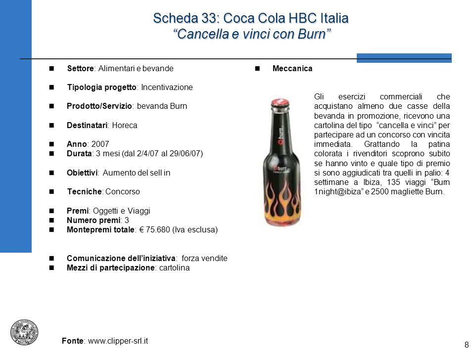 """8 Scheda 33: Coca Cola HBC Italia """"Cancella e vinci con Burn"""" Settore: Alimentari e bevande Tipologia progetto: Incentivazione Prodotto/Servizio: beva"""