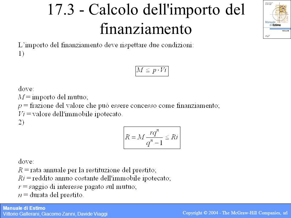 Manuale di Estimo Vittorio Gallerani, Giacomo Zanni, Davide Viaggi Copyright © 2004 - The McGraw-Hill Companies, srl 17.3 - Calcolo dell importo del finanziamento