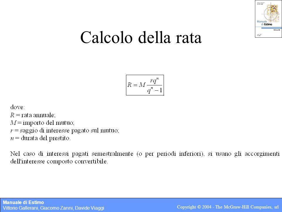 Manuale di Estimo Vittorio Gallerani, Giacomo Zanni, Davide Viaggi Copyright © 2004 - The McGraw-Hill Companies, srl Calcolo della rata