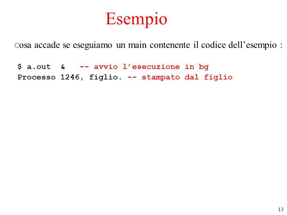 13 Esempio C osa accade se eseguiamo un main contenente il codice dell'esempio : $ a.out & -- avvio l'esecuzione in bg Processo 1246, figlio.