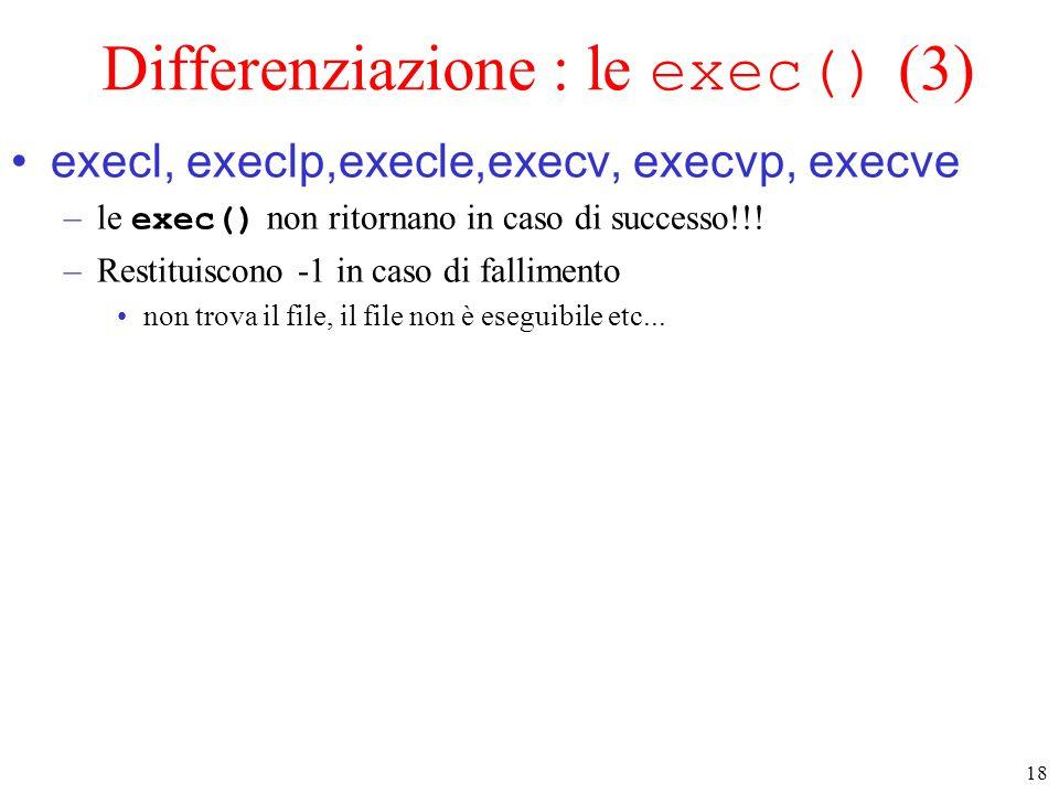 18 Differenziazione : le exec() (3) execl, execlp,execle,execv, execvp, execve –le exec() non ritornano in caso di successo!!! –Restituiscono -1 in ca