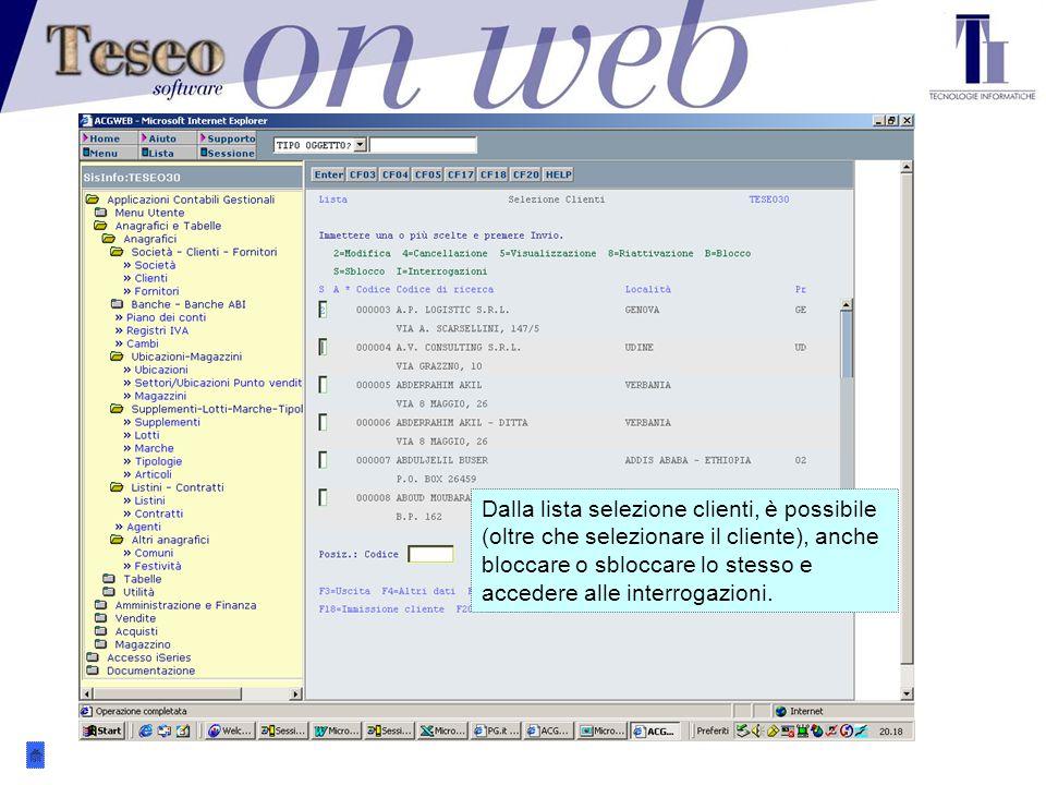 L'anagrafica clienti. I clienti sono individuabili per codice, partita Iva, cod.