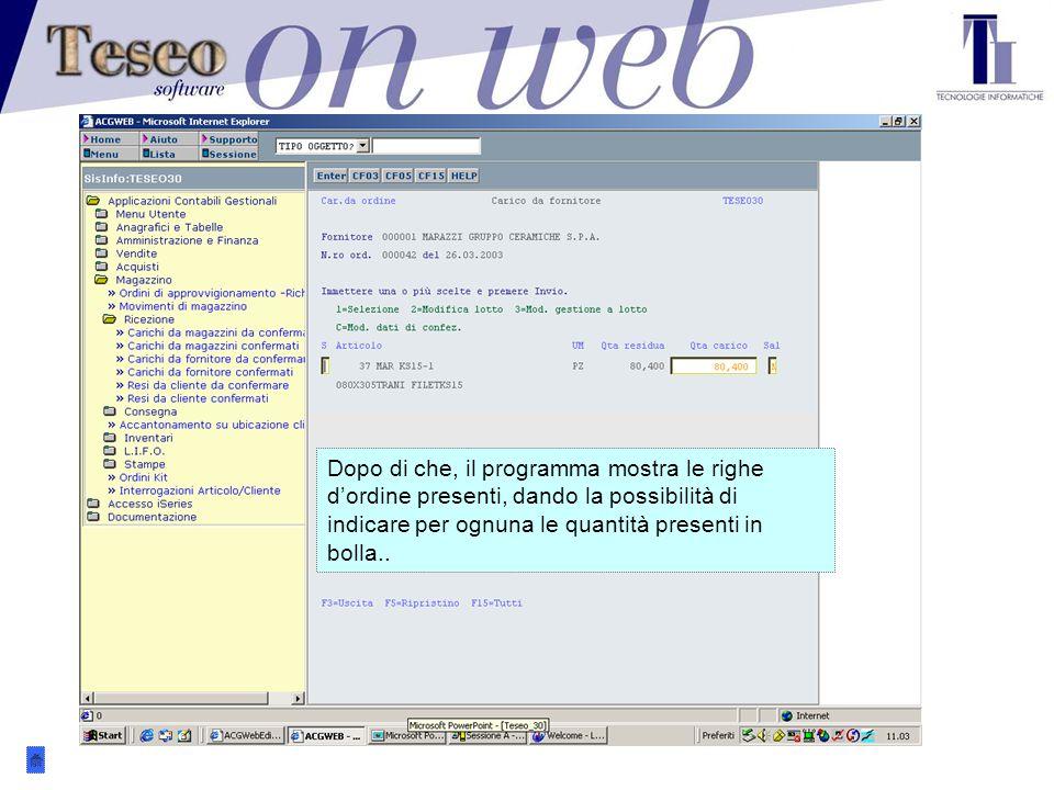 .. il programma mostra quali sono gli ordini in corso presso il fornitore indicato…...