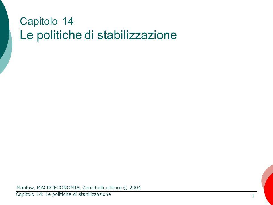 Mankiw, MACROECONOMIA, Zanichelli editore © 2004 1 Capitolo 14: Le politiche di stabilizzazione Capitolo 14 Le politiche di stabilizzazione