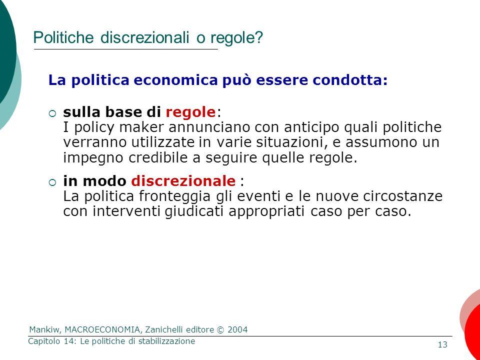 Mankiw, MACROECONOMIA, Zanichelli editore © 2004 13 Capitolo 14: Le politiche di stabilizzazione Politiche discrezionali o regole? La politica economi