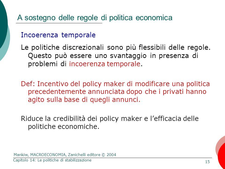 Mankiw, MACROECONOMIA, Zanichelli editore © 2004 15 Capitolo 14: Le politiche di stabilizzazione A sostegno delle regole di politica economica Incoere