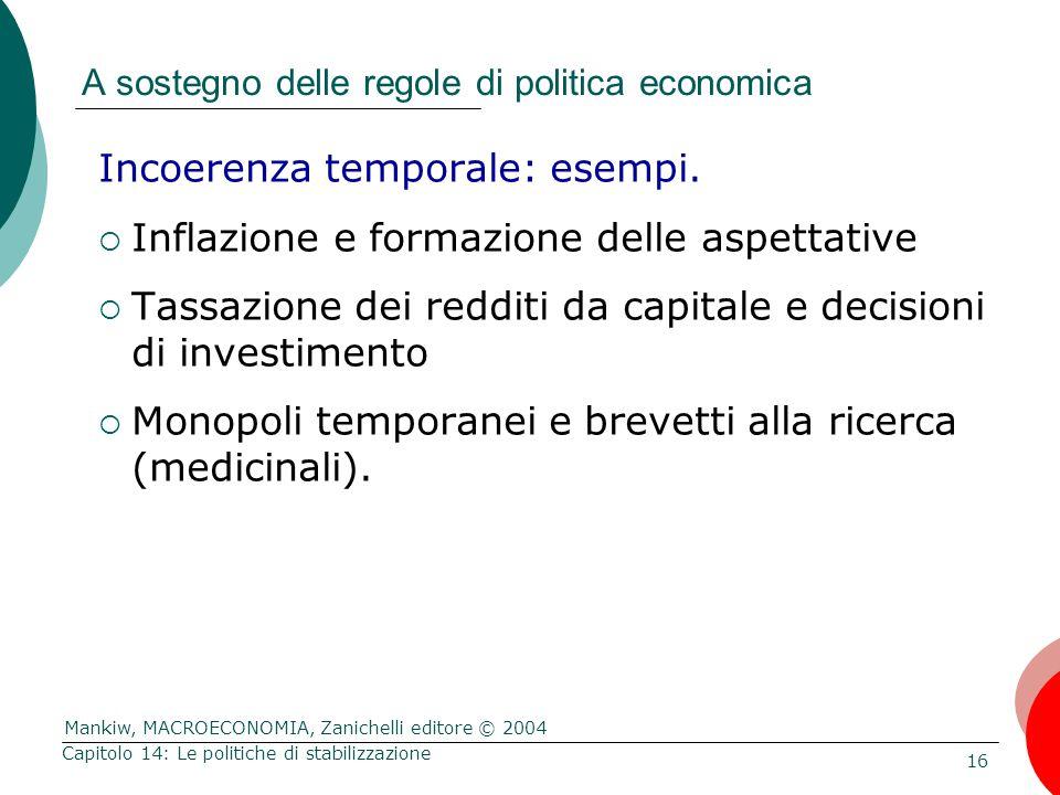 Mankiw, MACROECONOMIA, Zanichelli editore © 2004 16 Capitolo 14: Le politiche di stabilizzazione A sostegno delle regole di politica economica Incoere