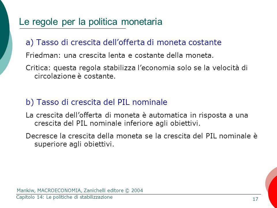 Mankiw, MACROECONOMIA, Zanichelli editore © 2004 17 Capitolo 14: Le politiche di stabilizzazione Le regole per la politica monetaria a) Tasso di cresc