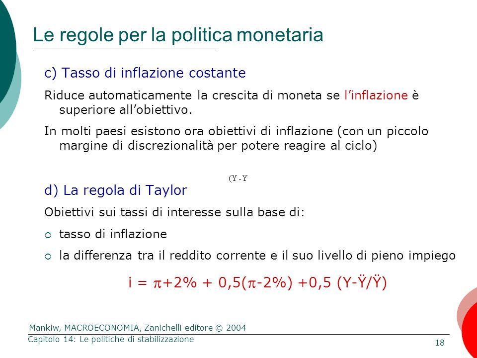 Mankiw, MACROECONOMIA, Zanichelli editore © 2004 18 Capitolo 14: Le politiche di stabilizzazione Le regole per la politica monetaria c) Tasso di infla