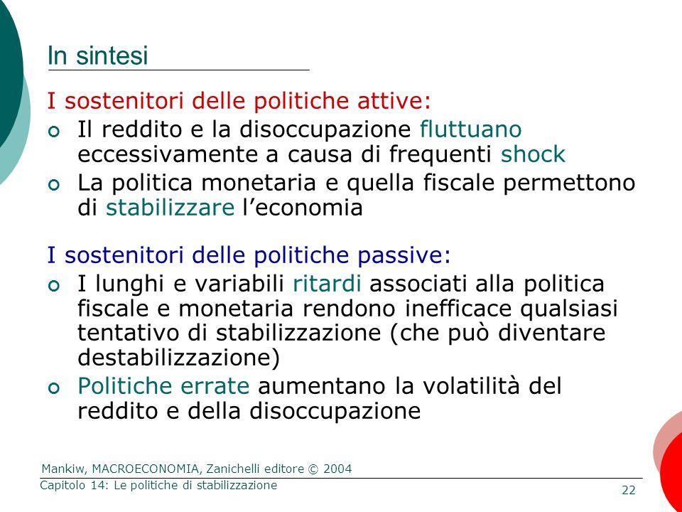 Mankiw, MACROECONOMIA, Zanichelli editore © 2004 22 Capitolo 14: Le politiche di stabilizzazione In sintesi I sostenitori delle politiche attive: Il r