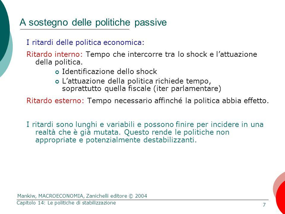 Mankiw, MACROECONOMIA, Zanichelli editore © 2004 7 Capitolo 14: Le politiche di stabilizzazione A sostegno delle politiche passive I ritardi delle pol