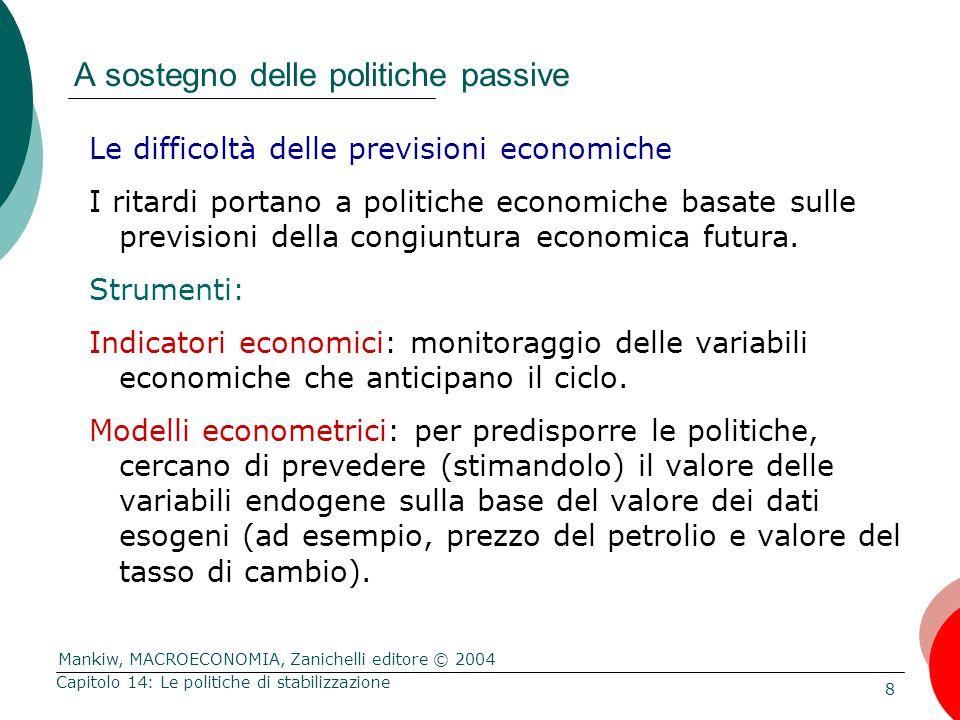 Mankiw, MACROECONOMIA, Zanichelli editore © 2004 8 Capitolo 14: Le politiche di stabilizzazione A sostegno delle politiche passive Le difficoltà delle
