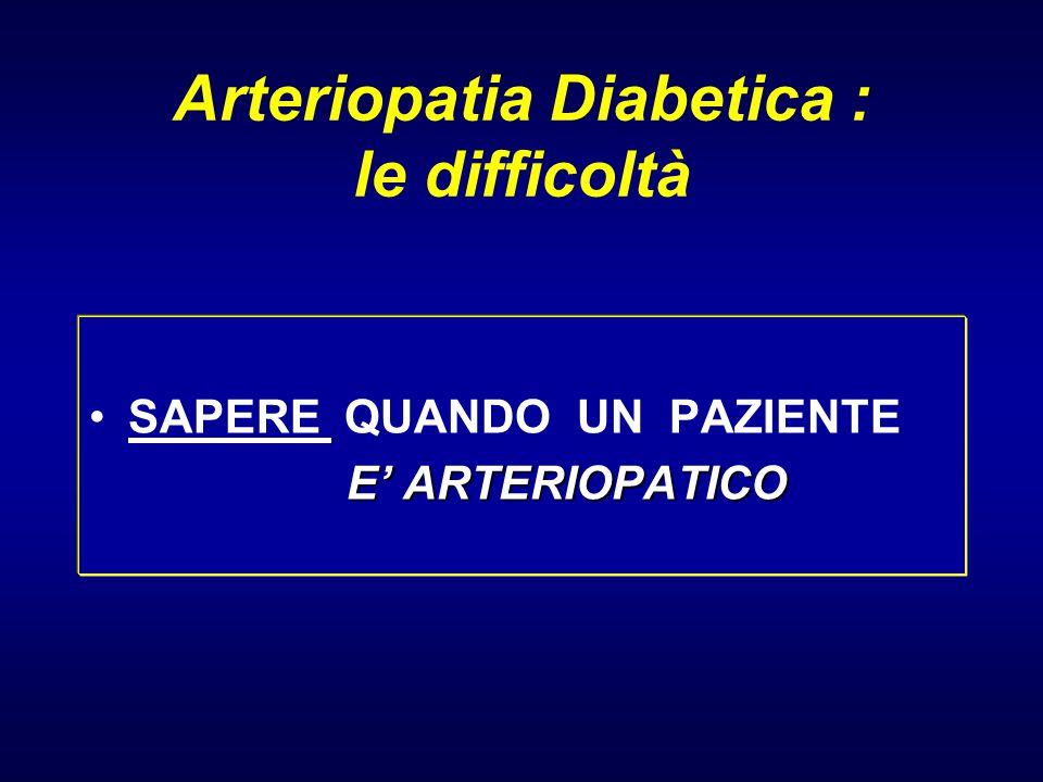Arteriopatia Diabetica : le difficoltà SAPERE QUANDO UN PAZIENTE E' ARTERIOPATICO E' ARTERIOPATICO