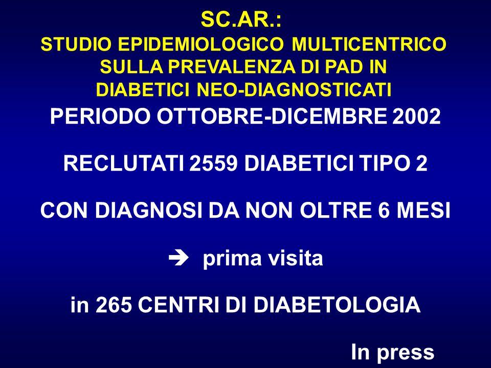 SC.AR.: STUDIO EPIDEMIOLOGICO MULTICENTRICO SULLA PREVALENZA DI PAD IN DIABETICI NEO-DIAGNOSTICATI PERIODO OTTOBRE-DICEMBRE 2002 RECLUTATI 2559 DIABET