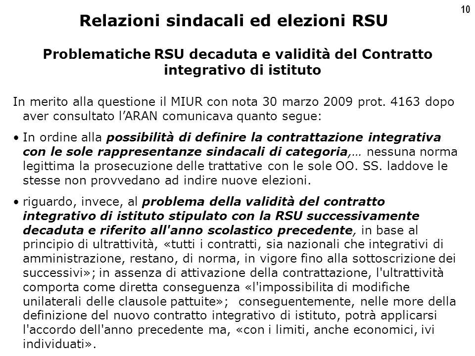 10 Problematiche RSU decaduta e validità del Contratto integrativo di istituto In merito alla questione il MIUR con nota 30 marzo 2009 prot.