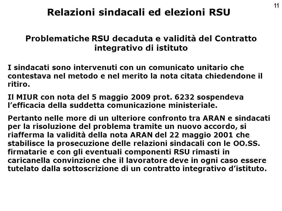 11 Problematiche RSU decaduta e validità del Contratto integrativo di istituto I sindacati sono intervenuti con un comunicato unitario che contestava nel metodo e nel merito la nota citata chiedendone il ritiro.