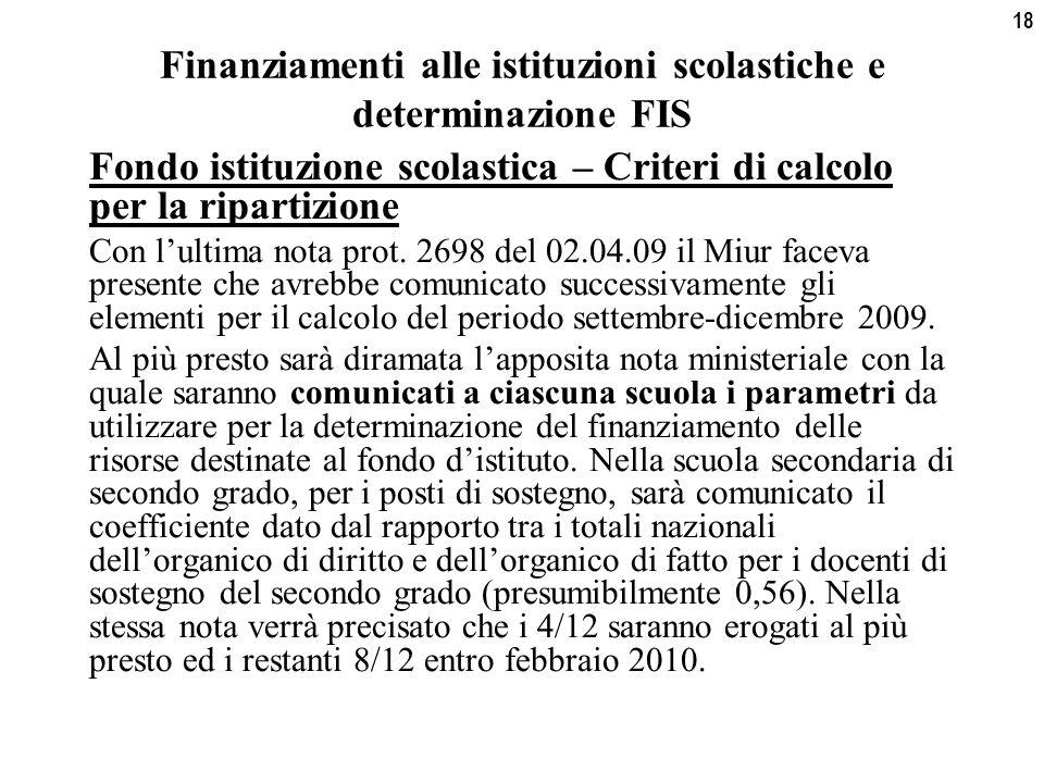 18 Finanziamenti alle istituzioni scolastiche e determinazione FIS Fondo istituzione scolastica – Criteri di calcolo per la ripartizione Con l'ultima nota prot.