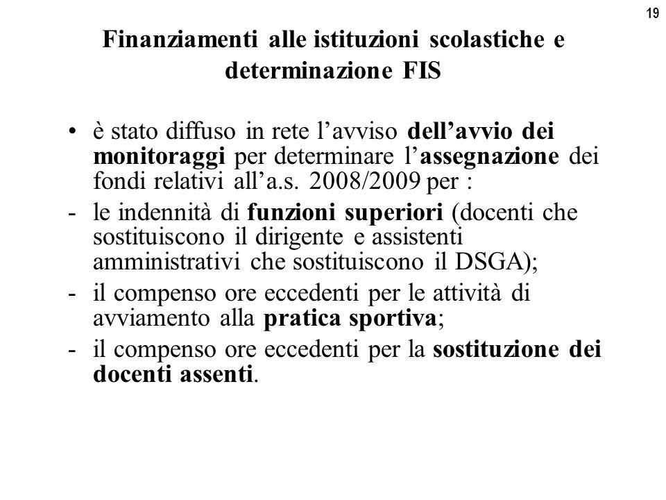19 Finanziamenti alle istituzioni scolastiche e determinazione FIS è stato diffuso in rete l'avviso dell'avvio dei monitoraggi per determinare l'assegnazione dei fondi relativi all'a.s.