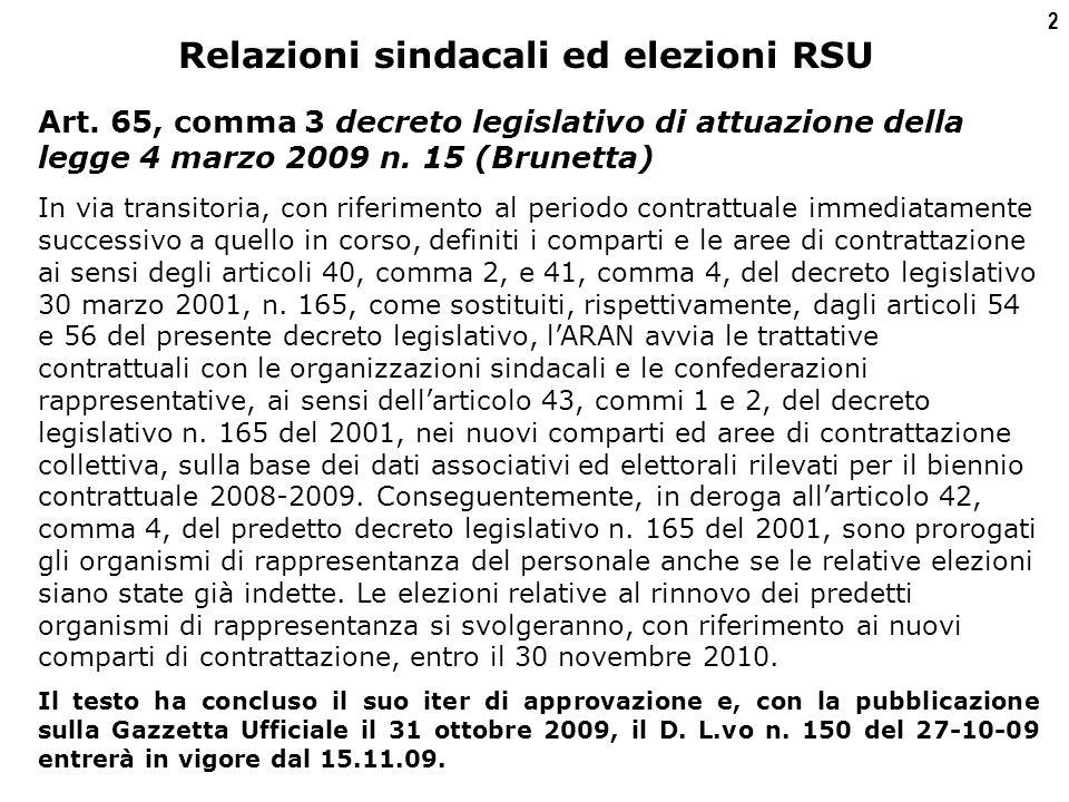 2 Relazioni sindacali ed elezioni RSU Art.