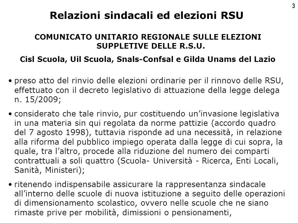3 COMUNICATO UNITARIO REGIONALE SULLE ELEZIONI SUPPLETIVE DELLE R.S.U.
