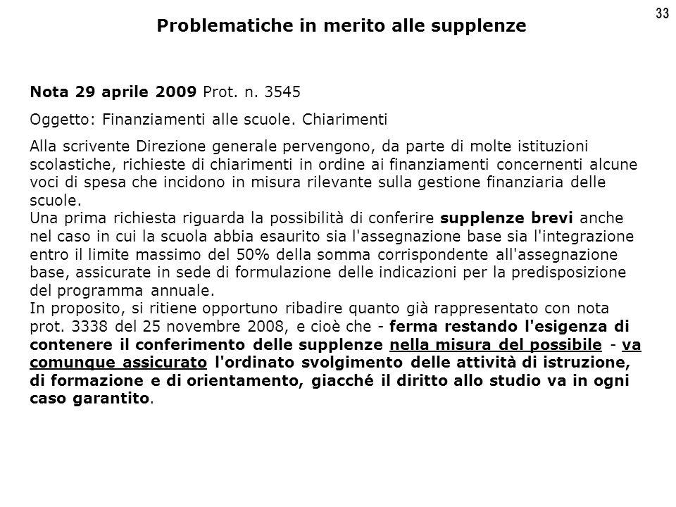33 Nota 29 aprile 2009 Prot. n. 3545 Oggetto: Finanziamenti alle scuole.