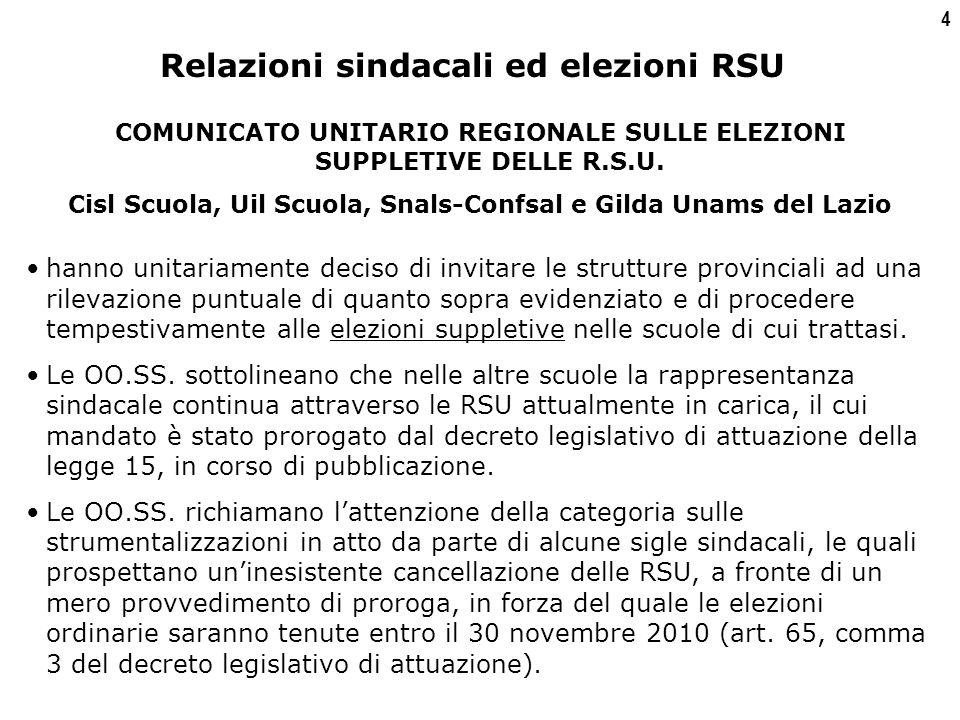 4 COMUNICATO UNITARIO REGIONALE SULLE ELEZIONI SUPPLETIVE DELLE R.S.U.