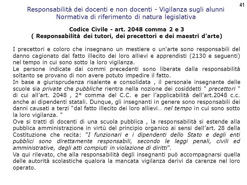 41 Responsabilità dei docenti e non docenti - Vigilanza sugli alunni Normativa di riferimento di natura legislativa Codice Civile - art.