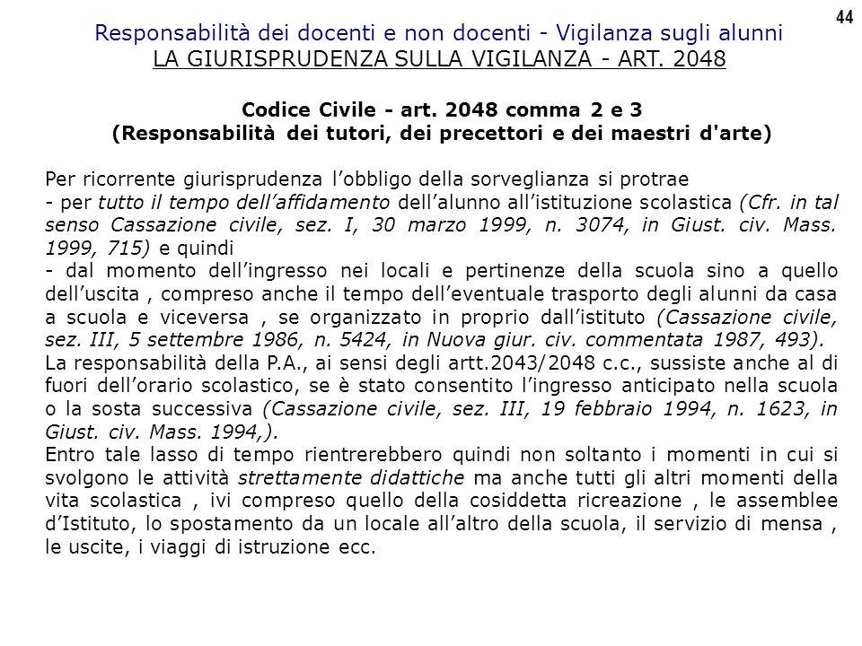 44 Responsabilità dei docenti e non docenti - Vigilanza sugli alunni LA GIURISPRUDENZA SULLA VIGILANZA - ART.