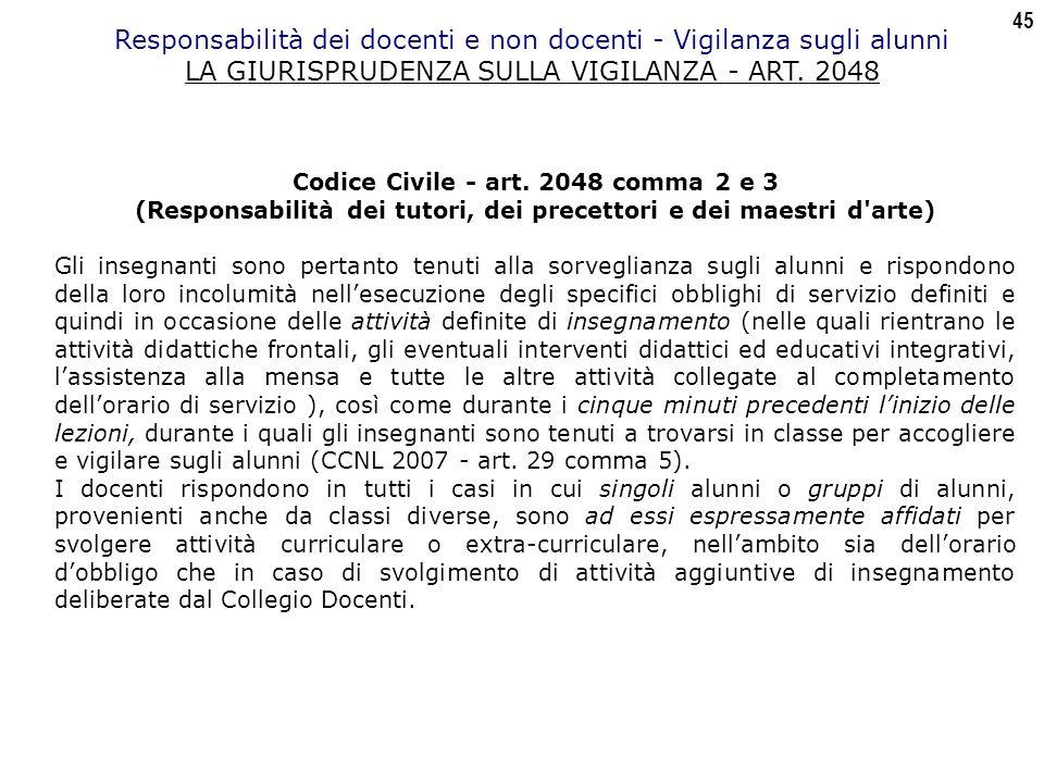 45 Responsabilità dei docenti e non docenti - Vigilanza sugli alunni LA GIURISPRUDENZA SULLA VIGILANZA - ART.