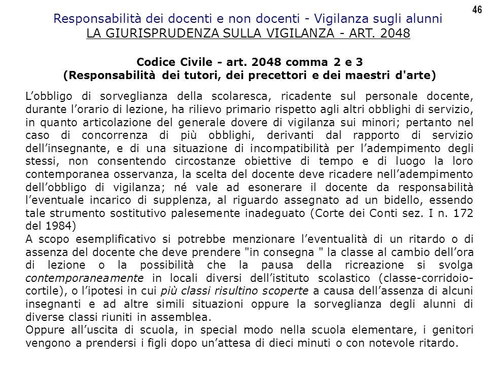 46 Responsabilità dei docenti e non docenti - Vigilanza sugli alunni LA GIURISPRUDENZA SULLA VIGILANZA - ART.