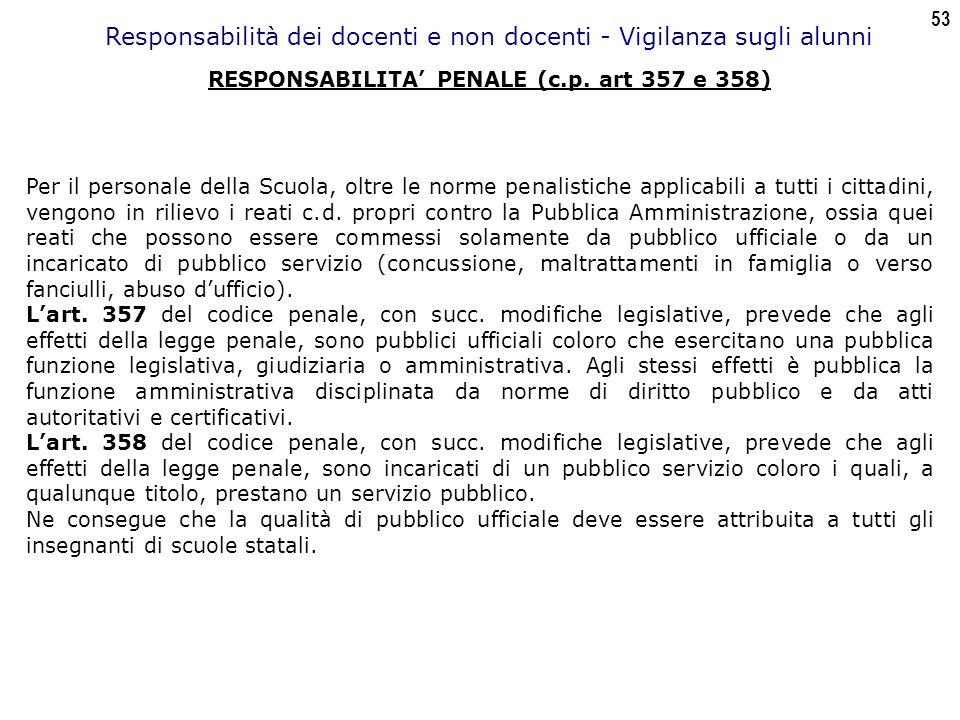 53 Responsabilità dei docenti e non docenti - Vigilanza sugli alunni RESPONSABILITA' PENALE (c.p.