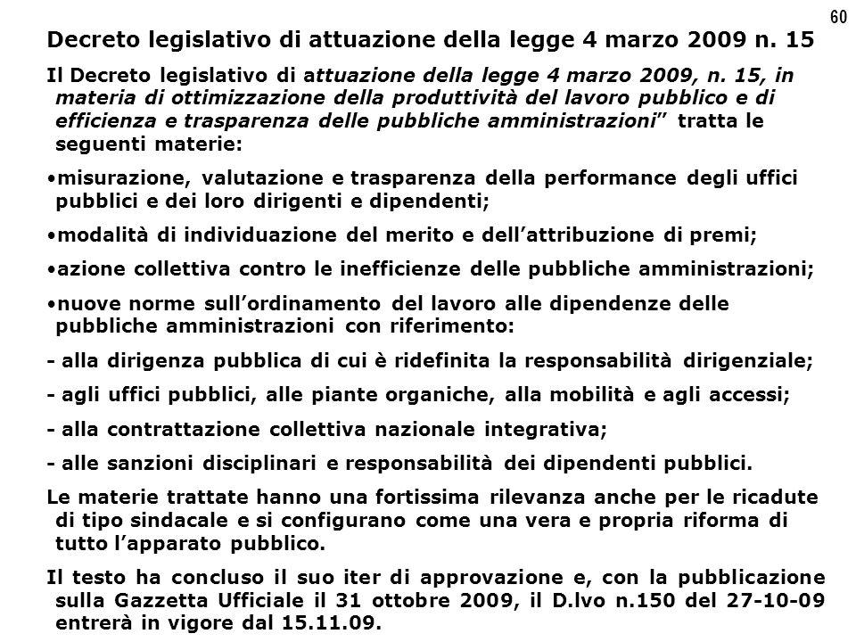 60 Decreto legislativo di attuazione della legge 4 marzo 2009 n.