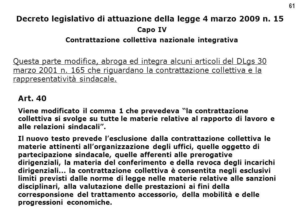 61 Decreto legislativo di attuazione della legge 4 marzo 2009 n.