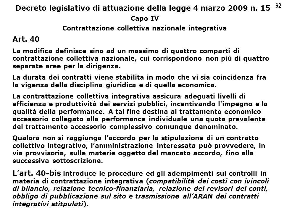 62 Decreto legislativo di attuazione della legge 4 marzo 2009 n.
