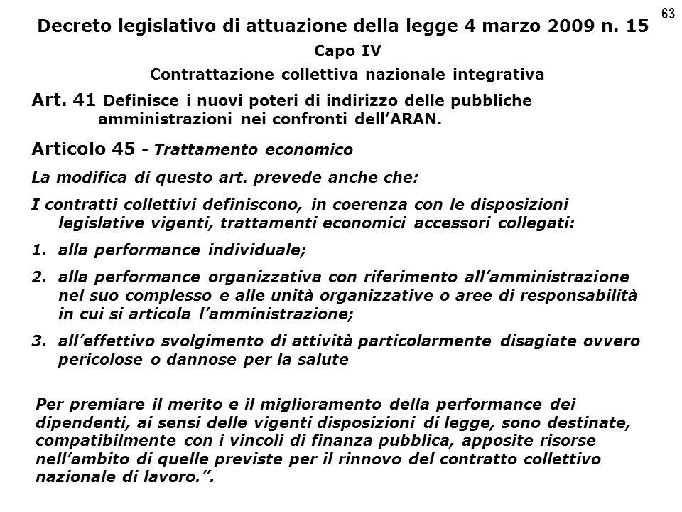 63 Decreto legislativo di attuazione della legge 4 marzo 2009 n.