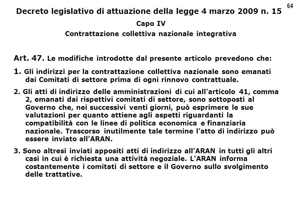 64 Decreto legislativo di attuazione della legge 4 marzo 2009 n.