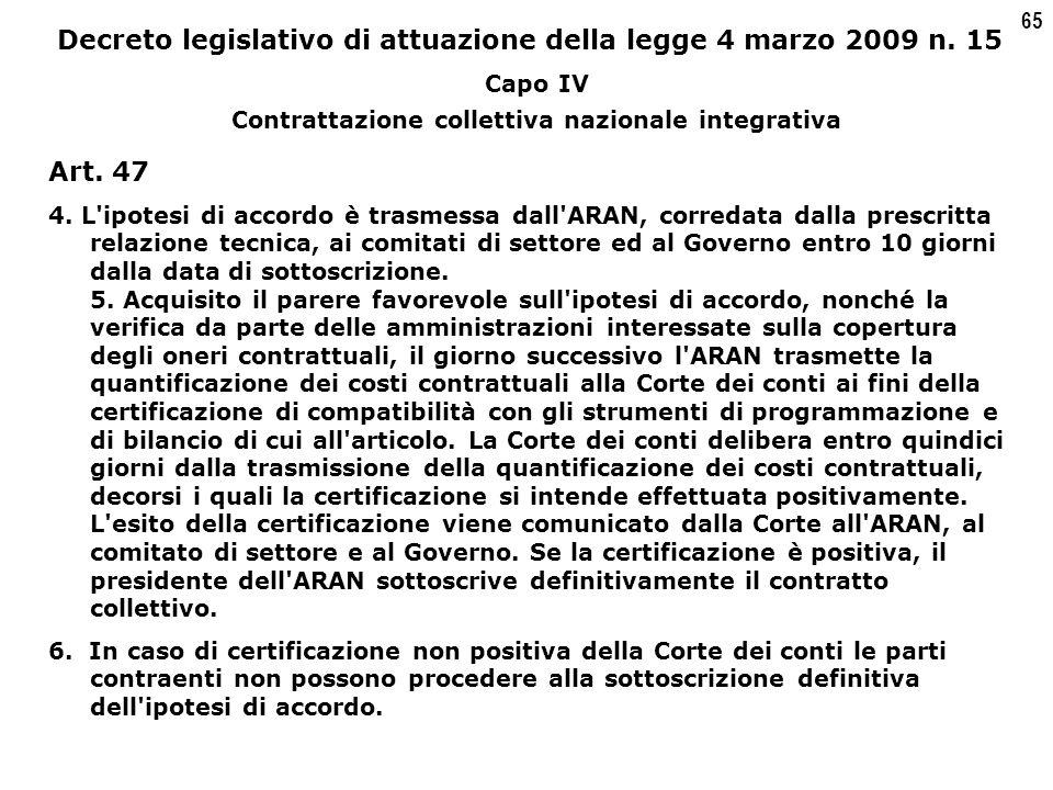65 Decreto legislativo di attuazione della legge 4 marzo 2009 n.