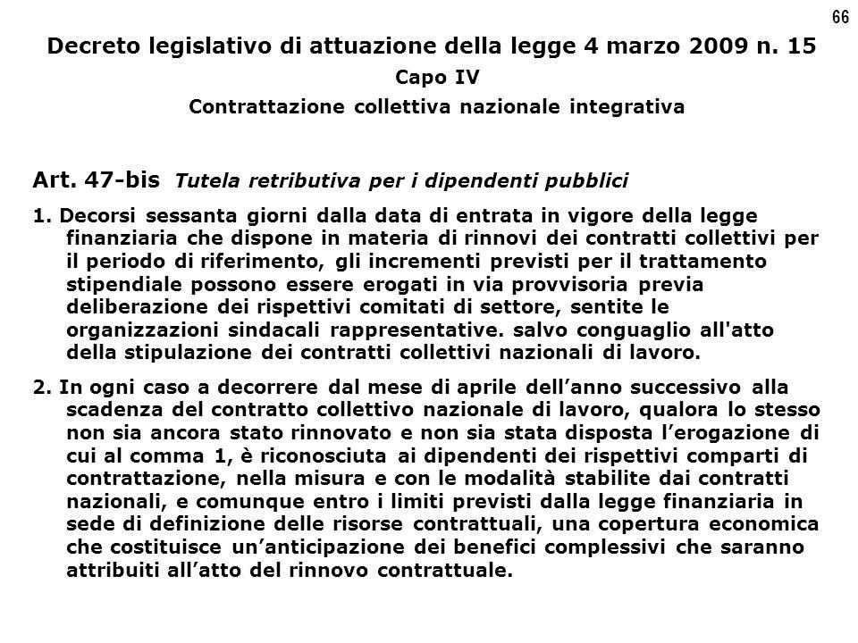 66 Decreto legislativo di attuazione della legge 4 marzo 2009 n.