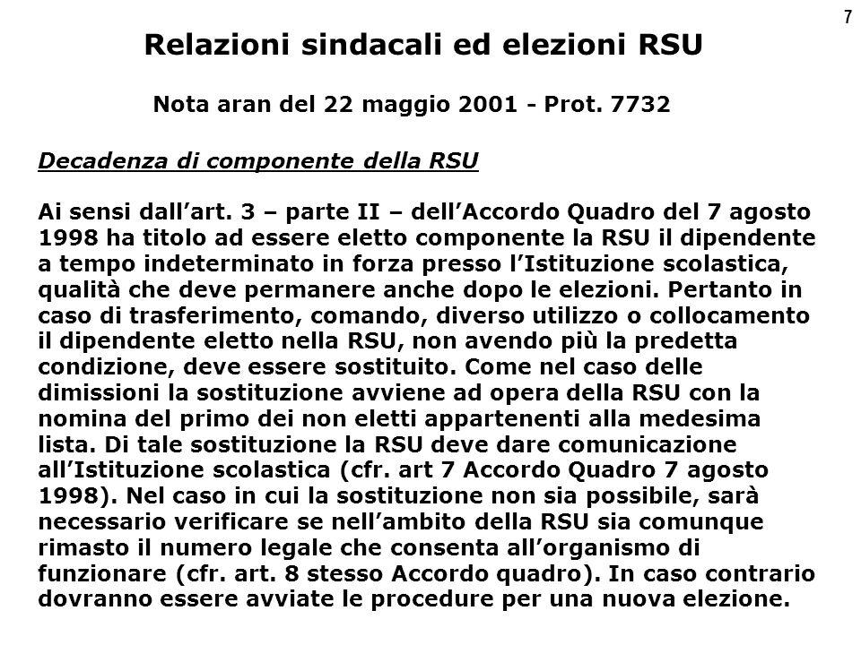 7 Decadenza di componente della RSU Ai sensi dall'art.