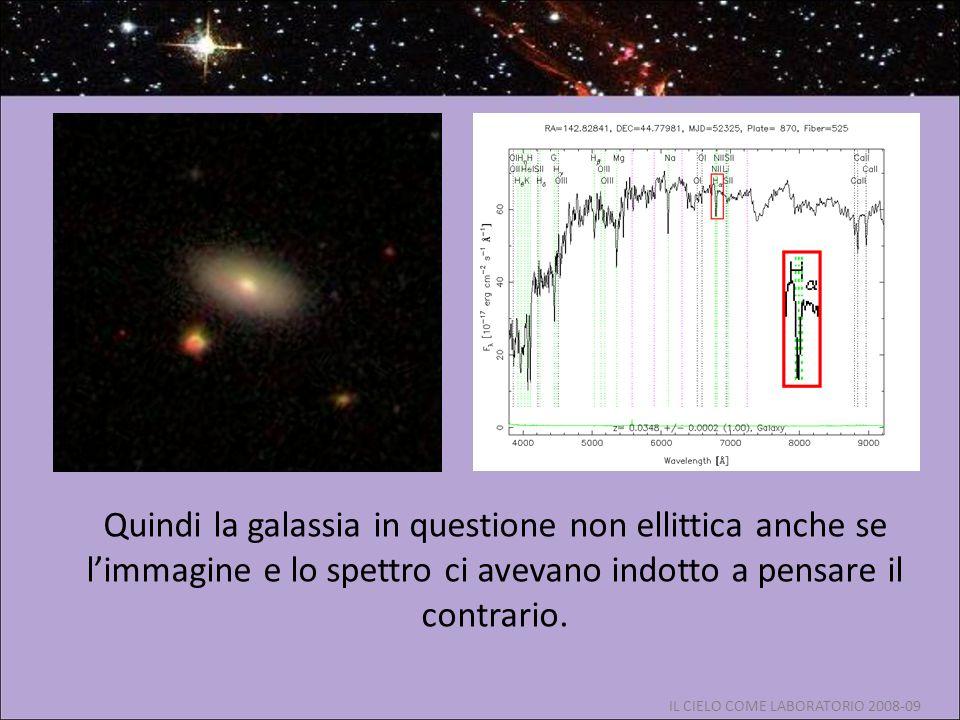 Quindi la galassia in questione non ellittica anche se l'immagine e lo spettro ci avevano indotto a pensare il contrario.