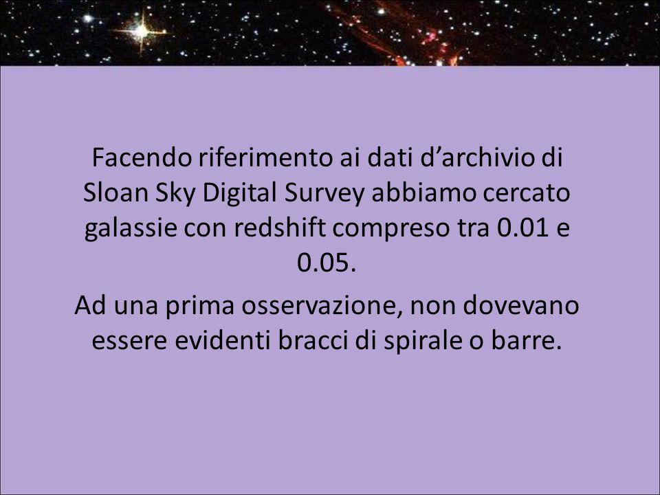 Facendo riferimento ai dati d'archivio di Sloan Sky Digital Survey abbiamo cercato galassie con redshift compreso tra 0.01 e 0.05.