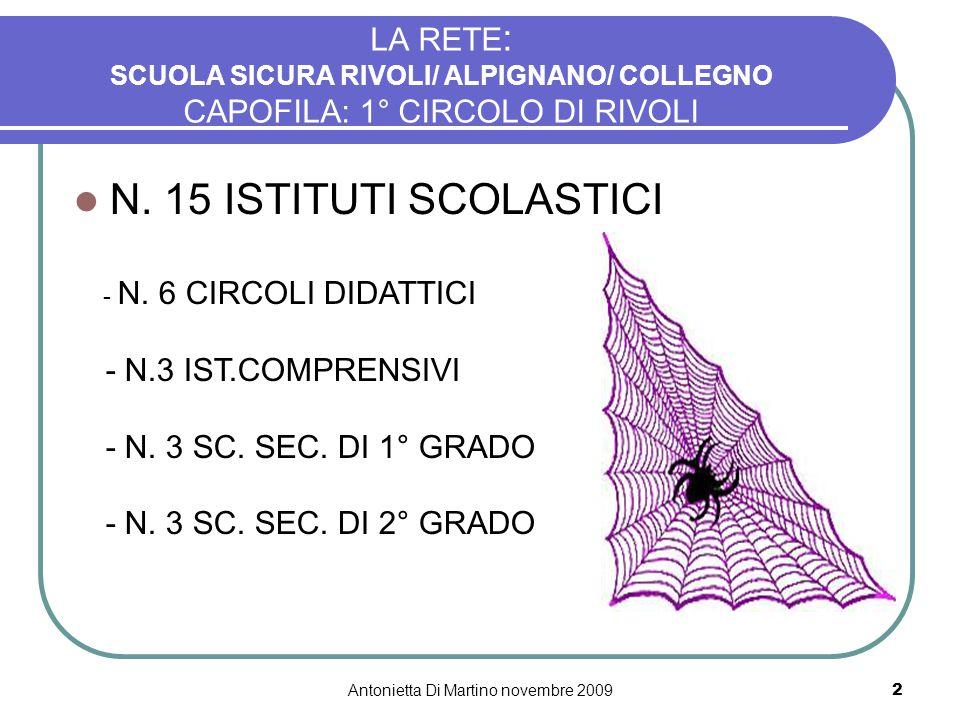 Antonietta Di Martino novembre 20092 LA RETE : SCUOLA SICURA RIVOLI/ ALPIGNANO/ COLLEGNO CAPOFILA: 1° CIRCOLO DI RIVOLI N. 15 ISTITUTI SCOLASTICI - N.