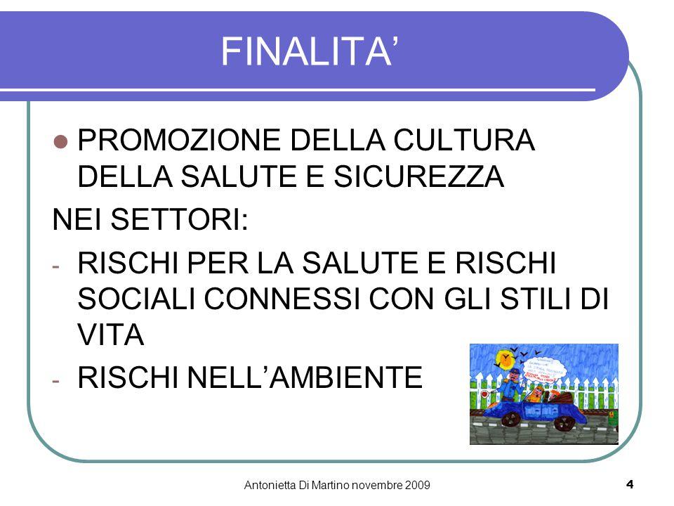 Antonietta Di Martino novembre 20094 FINALITA' PROMOZIONE DELLA CULTURA DELLA SALUTE E SICUREZZA NEI SETTORI: - RISCHI PER LA SALUTE E RISCHI SOCIALI
