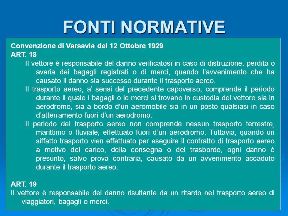 Convenzione di Varsavia del 12 Ottobre 1929 ART. 18 Il vettore è responsabile del danno verificatosi in caso di distruzione, perdita o avaria dei baga