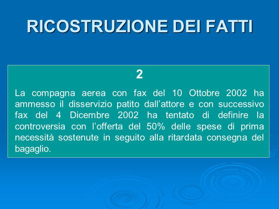 RICOSTRUZIONE DEI FATTI 2 La compagna aerea con fax del 10 Ottobre 2002 ha ammesso il disservizio patito dall'attore e con successivo fax del 4 Dicemb