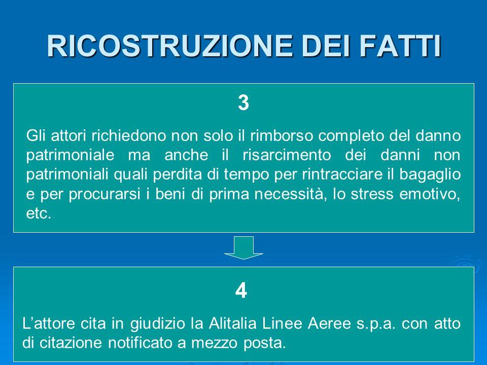 RICOSTRUZIONE DEI FATTI 5 Alla prima udienza di comparizione del 26 Giugno 2003, viene dichiarata la contumacia della società 6 Il 6 novembre 2003 viene deciso che la causa poteva essere trattenuta a sentenza a data 13 novembre 2003 7 Il Giudice di Pace di Massa condanna la Alitalia Linee Aeree s.p.a.