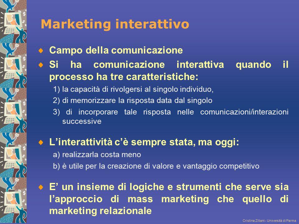 Cristina Ziliani - Università di Parma Marketing interattivo Campo della comunicazione Si ha comunicazione interattiva quando il processo ha tre carat