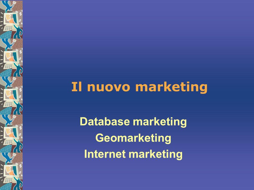 Il nuovo marketing Database marketing Geomarketing Internet marketing