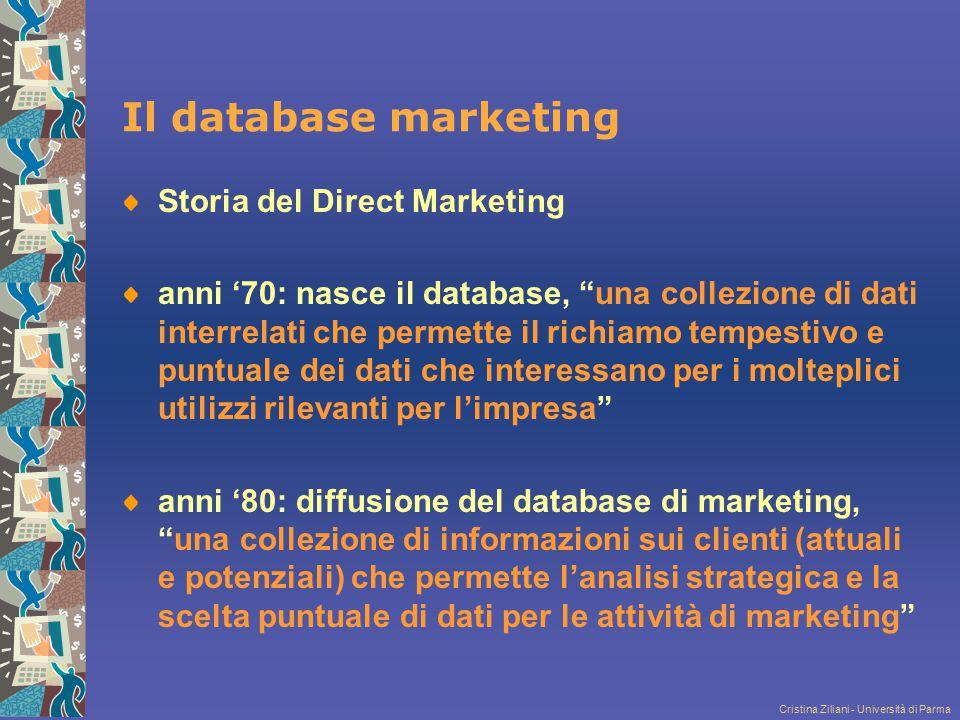 """Cristina Ziliani - Università di Parma Il database marketing Storia del Direct Marketing anni '70: nasce il database, """"una collezione di dati interrel"""