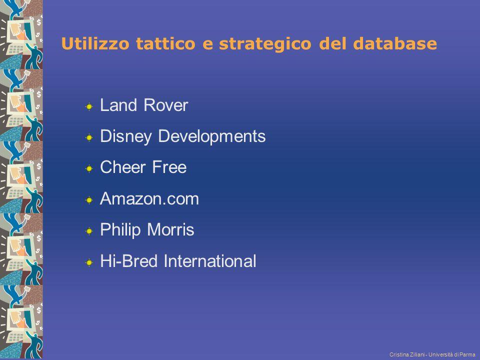 Cristina Ziliani - Università di Parma Utilizzo tattico e strategico del database Land Rover Disney Developments Cheer Free Amazon.com Philip Morris H